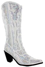 Helen's Heart White Sparkle Sequin Bling Tall Wedding Western  Cowboy Boots