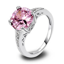 Free Ship Saucy Synthetic Pink & White Topaz Silver Ring Size 6 7 8 9 10 11 12
