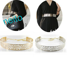 Hot Fashion Hollow Metal Mirror Waist Belt Metallic Bling Wide Band With Chain