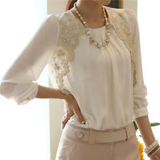 UK 8-20 Fashion Vintage Women Lace Chiffon Tops Shirt OL Loose Sheer Blouse Top