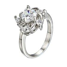 Copper Platinum Plated Lady's Fashion Figure Ring Stars Cubic Zirconia White