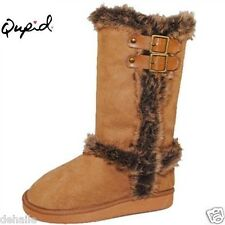 New lady's Qupid boots faux fur trim suede lined winter mid calf shoes