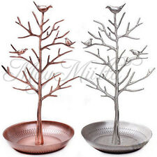 Retro Bird Tree Jewelry Earrings Ring Stand Holder Show Rack Necklace Display J