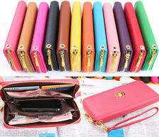12 Colors Wallet Clutch Long Handbag Phone Case for Galaxy