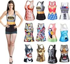 Sexy Women Graphic Print Gothic Top Fancy Dress Vest Tank Party Club BH BX01