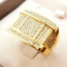 Men Jewelry 24k Yellow Gold Filled Glint Hip Hop Crystal Rings R47 9#-11#