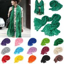 Fashion Women Girls Candy Colour Crinkle Long Soft Scarf Wrap Shawl Stole Style