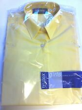 """Girls TRUTEX Gold Long Sleeved School Blouses 22,24,26,28,32,34"""" New in Pack"""