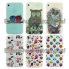 Cute cartoon owl colorful TPU soft back case cover Gel skin for iPhone 4 4S 5 5S