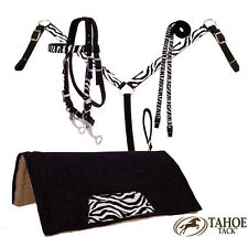 Tahoe Tack Zebra Print Headstall/Bit, Rein, Breast Collar, Pad Set  Full Horse