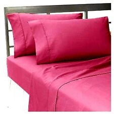 Hot Pink @ Sale 1000TC Solid 4-Piece Bed Sheet Set 100%Cotton Make Choices!
