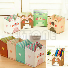 Cat Cartoon Paper Stationery Makeup Cosmetic Desk Organizer Storage Box DIY