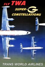 TWA Trans World Airlines Lockheed Constellation New Travel Poster-3 sizes-055a