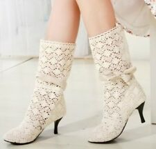 Womens Summer Mesh Knitting Cutout Low Heel Mid Calf Boots Shoes Plus Size AT18