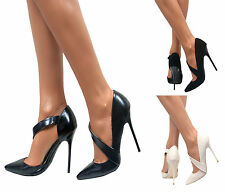 LADIES STILETTO POINTED TOE STRAPPY HIGH HEELS SANDALS COURT SHOES SIZE PUMP 3-8