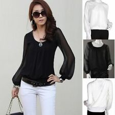 Fashion Ladies Women's Chiffon Tops Long Lantern Sleeve Shirt Casual Blouse