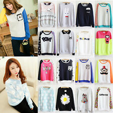 Korean Women Casual Sweater Lady Cartoon Printed Pullover Fleece Tops Sweatshirt