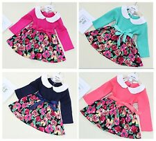 SALE  1PCS baby girls dress skirt sets clothes Christmas outfits for 0-3 Y  R17