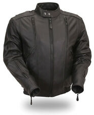 Mens Leather Classic Bomber Jacket Soft Cowhide First Manufacturing Co FIM238MNZ