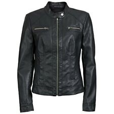 6230 Only Bandit PU Giacca Motociclista Donna Biker Simil Pelle Nero Nuovo