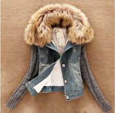 New Female Jean Short Denim Outwear Long Sleeve Solid Patchwork Jacket Coat - H