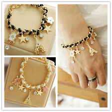 Multielement Gold Chain Leather Rope Crystal Handmade Bracelet Fashion Jewelry