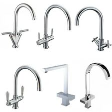 Chrome Kitchen Sink Mixer Tap Black Traditional White Brushed Steel Bridge Brass