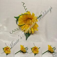 WEDDING FLOWERS BUTTONHOLE SINGLE SILK GERBERA YELLOW WITH OR WITHOUT BOW