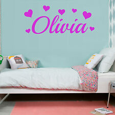 HEARTS Love Girls Bedroom Personalised ANY NAME Vinyl Wall Art Sticker Decal Ft5