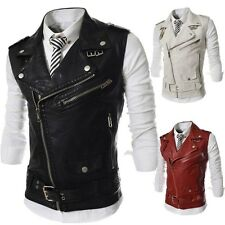 2014 Fashion Vest Men's Slim Multiple Zipper Large Lapel PU Leather Jacket Coats