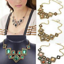 Retro Vintage Bronze Green Gemstone Pendant Chain Necklace Women Party Gift Hot