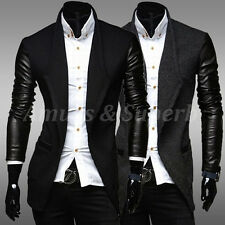 FASHION Mens Cardigan Suit PU Leather Jacket Casual Slim Blazer Coat Sweater Top