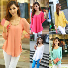 Korean Women's Loose Chiffon Tops Long Sleeve Shirt Casual Blouse