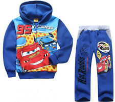 Kids Boys Girls Lightning Mcqueen Cars Zip-up Hoodie+Pants Suits Outfits 2-7Y