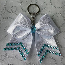 Cheer Bow Key Silver Shiny Blue, Red, Pink, or Purple Bling