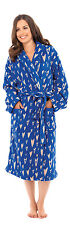 OCTAVE® Ladies Blue Supersoft Blue Fleece Heart Print Robe Womens Dressing Gown