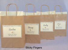 LARGE Personalised Empty Brown & Cream Paper Wedding  Favour Party Gift Bags