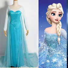 Fashion Halloween Women Frozen Elsa Fancy Dress Adult Costumes Gown Dress