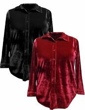 Black or Red Top Long Sleeve Plus Size Velvet Button Down Shirt 1x 2x 3x 4x NEW!
