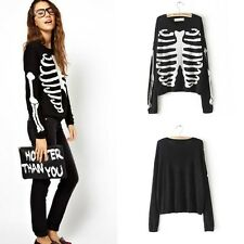 NEW Womens Fashion Long Sleeve Ghost Skeleton Knit Slim Sweater B5811