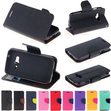 Deluxe Wallet Leather Flip + Tpu Skin Case Cover For Samsung Galaxy Ace G313H