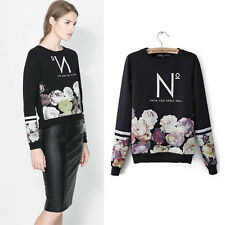 New Fashion Flower Printed Pullover Loose Sweatshirt Top Blouse Comfort Hoodie A