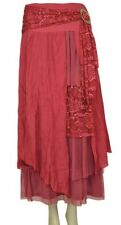 PRETTY ANGEL Red Vintage Boho Peasant Gypsy skirt-flowing, layered, & elegant...