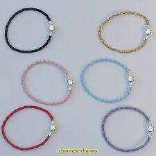 Silver Plated Love Snap Clasp Faux Leather European Charm Bead Bracelet Necklace