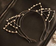 YOUS Silver/Golden Sexy Cat Ear Girl Head Band Beaded Fashion Hair Band Metal