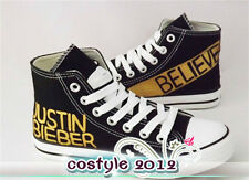 Super Star Justin Bieber Shoes Black High Ankle Canvasa Shoes Casual Sneakers