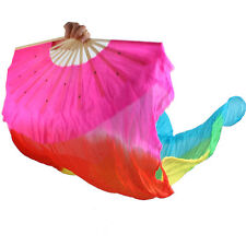Hand Made Multi-color Belly Dance Dancing Silk Bamboo Long Fans Veils 1.8m