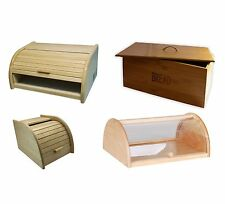 BREAD BIN ROLL TOP BEECH WOOD / BAMBOO WOODEN KITCHEN FOOD STORAGE CANISTERS NEW