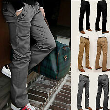mens skinny Casual pencil Dress pants slim Straight-Leg jeans Leisure trousers