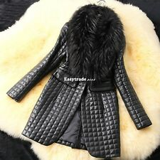Luxury Women's Faux Fur Collar Sheep Skin Winter Warm Long Jacket Coats Outwears